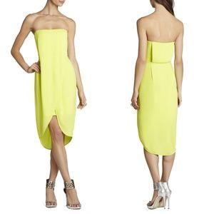 BCBG Harriet strapless wrap drape dress lime green